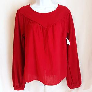 Universal Thread Long Sleeve Pull Over Red Blouse